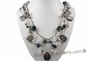 pn531 stylish 9-10mm keishi pearl necklace with  gemstone beads