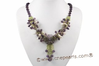 pn533 beautiful flower jewelry necklace mixed with pearl and colorful gemstone beads