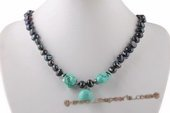 Pn536 Hot Design Black Nugget Pearl and Turquoise Princess Necklace