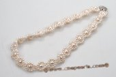 Pn549 Beautiful Hand Knitted Freshwater Pearl Princess Necklace
