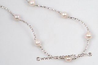Pn552 Elegant Sterling Silver Cultured Pearl Princess Necklace