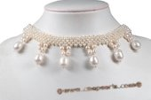 Pn553 Hand Knit Seed Pearl Choker Necklace with Large Drop Pearl