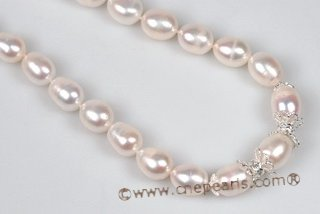 Pn554 Elegant Hand Knotted 9-10mm Rice Shape Pearl Sterling Necklace