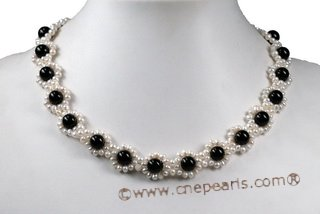 Pn555 Hand Knitted Freshwater Pearl Bridesmaid Necklace
