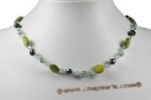 Pn567 Hand Crafted Nugget Pearl and Green Shell Princess Necklace