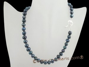 PNSET003 black potato shaped freshwater pearl necklace set