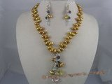 PNSET008 7-8mm champagne top-dirlled pearl necklace& dangle earr
