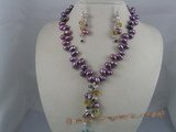 PNSET011 7-8mm purple top-dirlled pearl necklace & earrings set