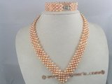 PNSET019 4-5mm pink potato shape cultured pearl choker necklace & bracelet