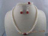 pnset022 white button shape cultured pearl necklace&bracelet sets