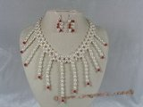 pnset034  enchanting handcrafted  6-7mm white rice pearl necklace and earring set