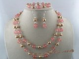 pnset042 10mm watermelon  beads alternating with shell pearl necklace jewelry set