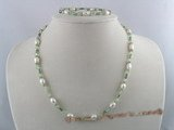 pnset045 6-7mm rice pearl with green faceted crystal beads neckalace and bracelets set