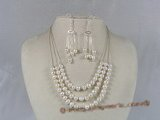 pnset047 three strands 7-8mm potato pearl with 925 silver chain bridal necklace earrings set