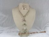 pnset048 fashionable 4-5mm pearl and crystal  necklace and earring set