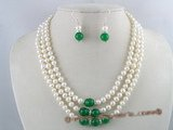 pnset055 Precious three rows 6-7mm white potato fresh water pearl necklace&earrings set