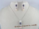 pnset062 multi color 8.5-9mm bread pearl 925silver Pendant earrings Set