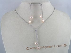 pnset065 Sterling Silver Lariat 7*9mm Pink Rice Pearl 925silver Drop Pendant Earrings Set