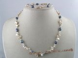 pnset069 purpe keshi pearl necklace bracelet set with crystal beads