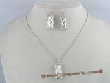 pnset074 white biwa pearl in a sterling silver cage necklace earring set