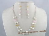 pnset079 Fashion White pearl with crystal layer necklace earrings set