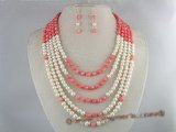 pnset082 Five strands pearl& coral beads necklace earrings set