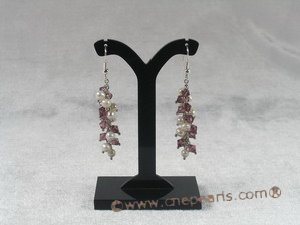 pnset084  Freshwater pearl and purple crystal beads grape necklace earrings set