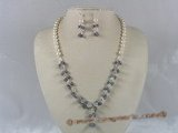 pnset089 Fanshion potato pearl with crystal beads wedding jewelry set