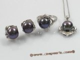 pnset091 sterling silver black pearl pendant and earrings jewelry set