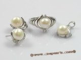 pnset092 925silver pearl pendant and earrings jewelry set in wholesale