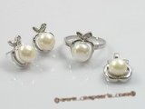 pnset093 925silver pearl jewelry set combine with apple design mountings