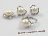 pnset098 peach-design 925silver pendant jewelry set with cultured pearl
