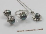 pnset101 bread pearl pendant earring and rings set with sterling mountting