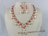 pnset104 wholesale pink potato pearl&coin pearl neckalce earirngs set with crystale beads