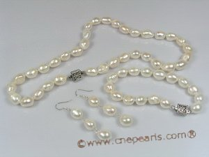 pnset110 9*11mm double shiny pearl Necklace bracelets& earrings Sets