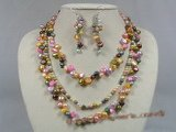 pnset114 Fanshion multi-color nugget and potato pearl necklace earrings set