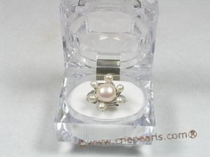 pnset120  Fanshion bread pearl with sterling silver tray necklace ring set