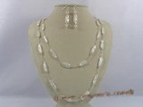 pnset125 Hand wrapped white biwa pearl rope necklace earrings set
