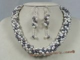 pnset126 grape necklace with white and black pearl necklace earrings set