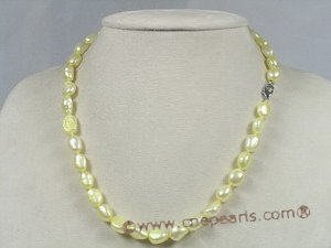 pnset130 8-9mm yellow  nugget pearl single necklace jewelry set