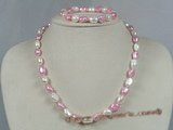 pnset131 pink mix white nugget pearl necklace bracelet set