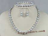 pnset135 7.5-8.5mm grey potato shape pearls jewelry set