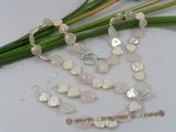 pnset144 White keshi pearl&rose quartz Y style necklace earrings set