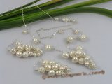 pnset150 grapes dangle potato pearl bridal jewelry set for wholesale