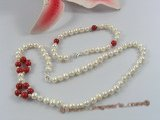 pnset151 cultured potato pearl& coral bridal neckalce bracelet set