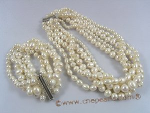 pnset163 Five-strands white cultured pearl choke necklace bracelet jewelry set