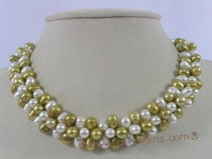 pnset171 Multi-color side-dirlled cultured pearls necklace bracelet set