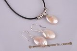pnset179 sterling silver oval coin pearl pendant&earring jewelry set in wholesale