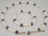 pnset184 wholesale white & black 7-8mm potato pearl necklace in Fine quality