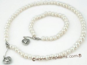 pnset194 6-7 Freshwater potato Pearl necklace&bracelet jewlery set with lobster clasp
